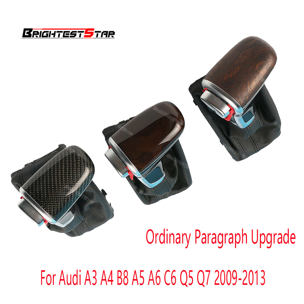 8KD713139 Carbon Fiber Wood Lever Gear Shift Knob w/ Gaiter Boot AT LHD Only For Audi A3 A4 B8 A5 A6 C6 Q5 Q7 2009-2013