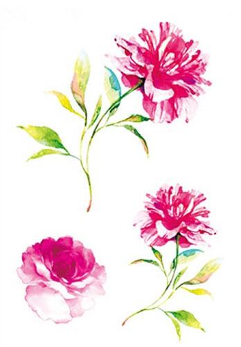Impermeable Falso Tatuaje Temporal Pegatinas Acuarela Rosa Peonía Flores Diseño