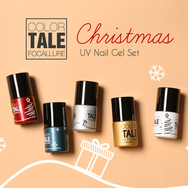Focallure Christmas Set 4 Colors UV Gel Nail Kit Gel Polish Art Tools Sets Kits Nail Gel Nail Gel Kit