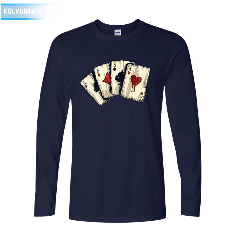 KOLVONANIG 2018 Spring&Fall O-Neck Long Sleeve Mens T Shirt Poker Playing Cards Four A 3D Printed T-Shirt For Men Tshirts Park