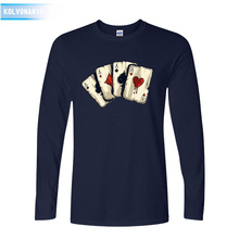 KOLVONANIG 2019 Spring&Fall O-Neck Long Sleeve Mens T Shirt Poker Playing Cards Four A 3D Printed T-Shirt For Men Tshirts Park