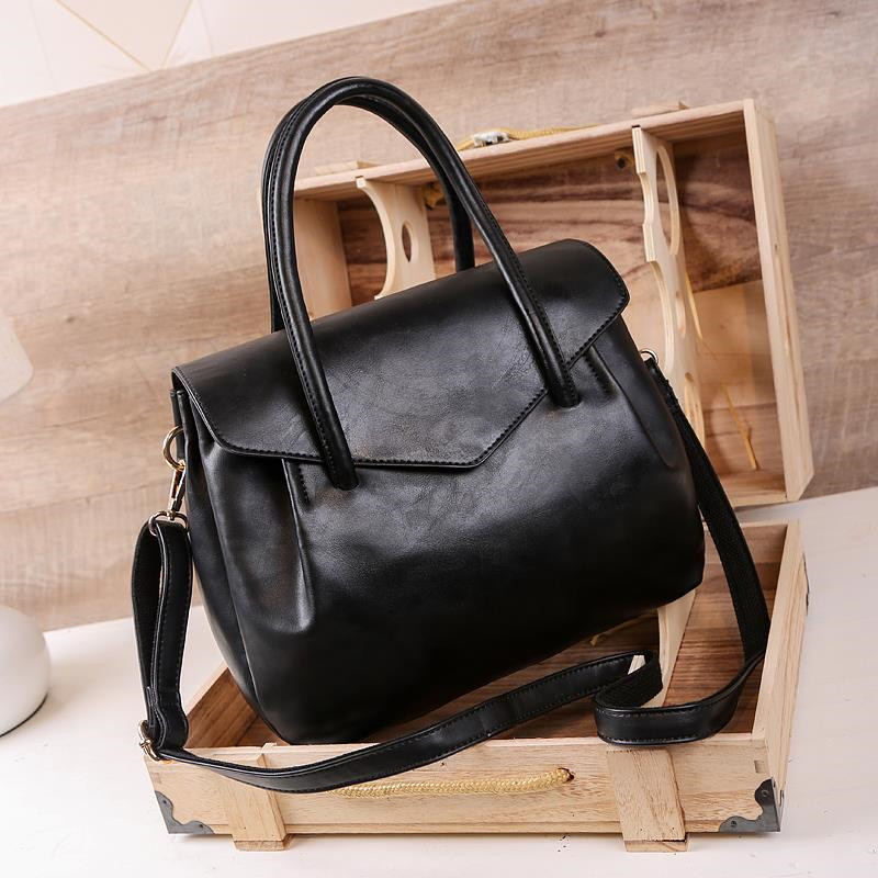 Fashion Women Handbag Large Capacity Casual Top-Handle Bag Designer Luxury Female Shoulder Bags PU Leather Lady Big Totes Black