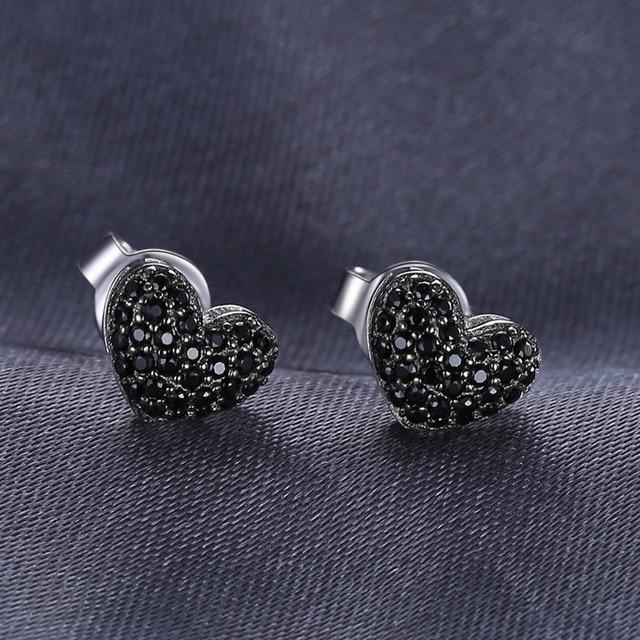 JewelryPalace Moda 0.29ct Natural Spinello Nero Del Cuore di Amore Orecchini Per Le Donne Solid 925 Sterling Argento Orecchini con perno Gioielli