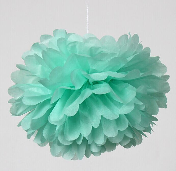 free shipping 300pcs 12inch cool mint paper pom poms nursery mobile engagement party decorations wedding planner