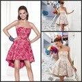 Popular Hot Sexy uma linha curto Prom vestidos Strapless fora do ombro com elegância Lace Applique Backless curto vestidos