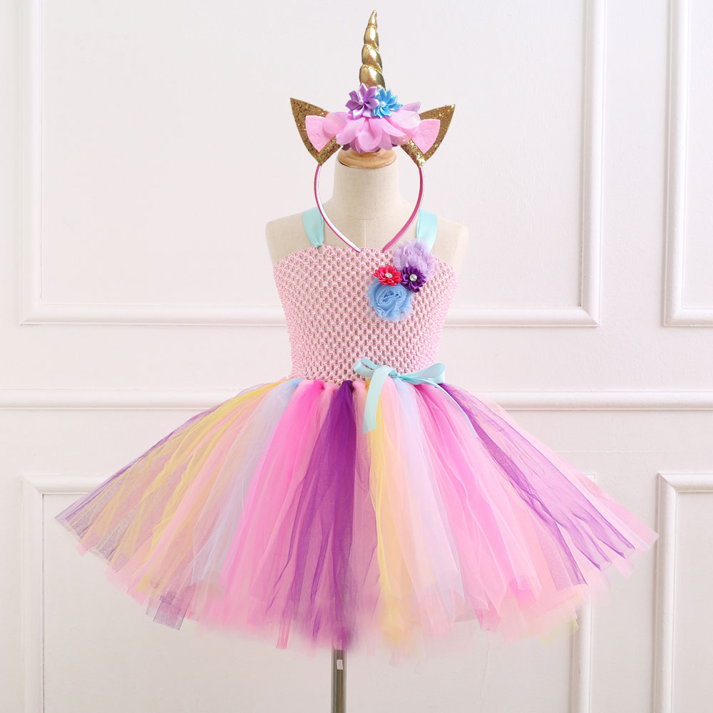 7 Style Flower Girls Unicorn Tutu Dress With Headband Halloween Costume Girl Party Dress Rainbow Tulle Princess Dress Kids Gifts