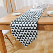 European Geometric Print Lattice Table Runner Flag Modern Solid Tablecloth TV Cabinet Cover for Wedding Party Home Decor