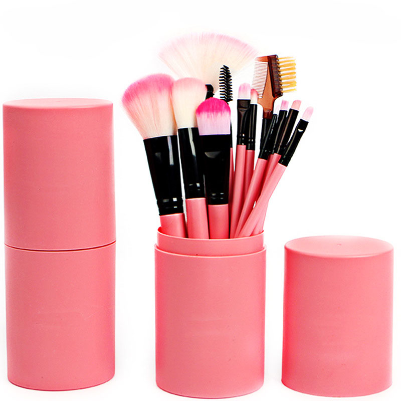 12 Pcs Makeup Brushes Kit Studio Holder Tube Convenient Portable Leather Cup Makeup Brushes professional Cosmetics brush dental kerr finishing polishing assorted kit occlubrush cup brushes