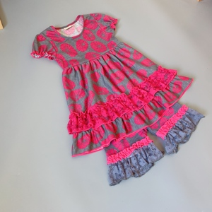Image 2 - Grey, rose red,lotus girls dress Outfits Infants and Children dresses  soft Ruffle flower frocks for kids kids boutique clothing
