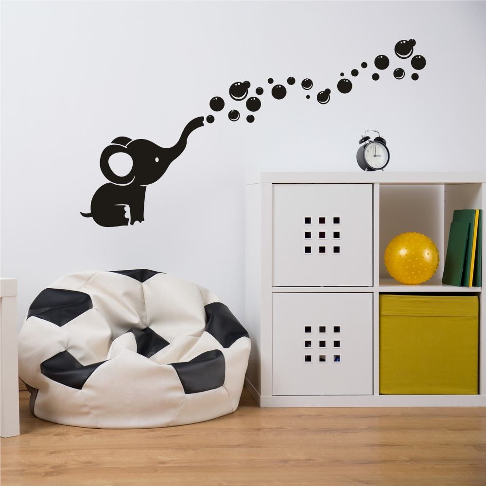 Gajah Bubble Wall Decals Art Vinyl Wall Stickers untuk Nursery Baby Kids Room Decoration