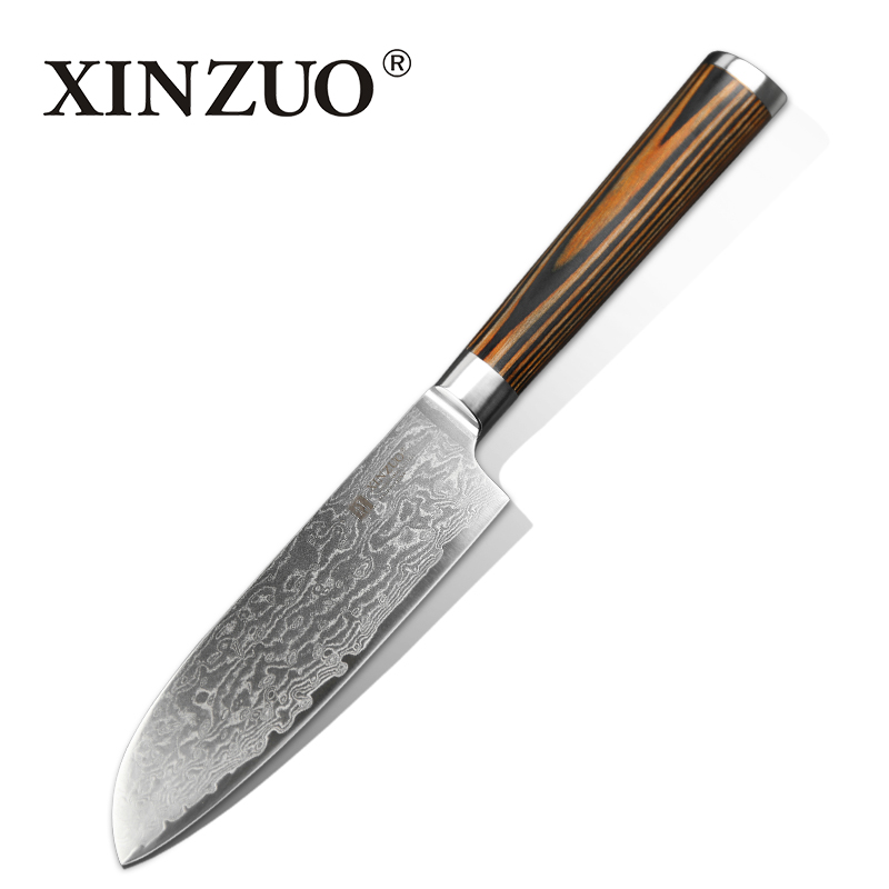 XINZUO 5 Santoku Knife Japanese Damascus Kitchen Knives Japanese Chef Fruit Knife Double Forged Micarta Handle