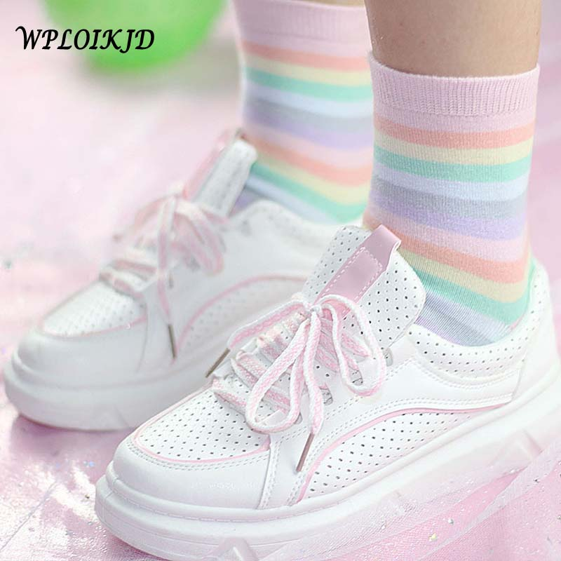 [WPLOIKJD]Youth Beautiful Beautiful Kawaii Girl Rainbow Socks Comfortable Japanese Harajuku Elegant Calcetines Mujer Socks
