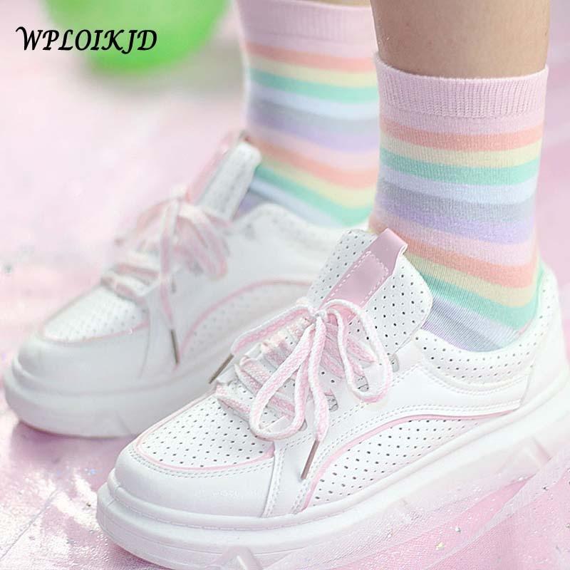 [WPLOIKJD]Youth Beautiful Beautiful Kawaii Girl Rainbow   Socks   Comfortable Japanese Harajuku Elegant Calcetines Mujer   Socks