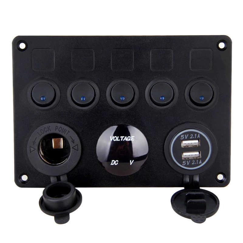 5 Gang LED Rocker Switch Panel Tahan Air Sirkuit Digital Voltmeter Dual USB Charger On-Off Switch Kapal Laut truk