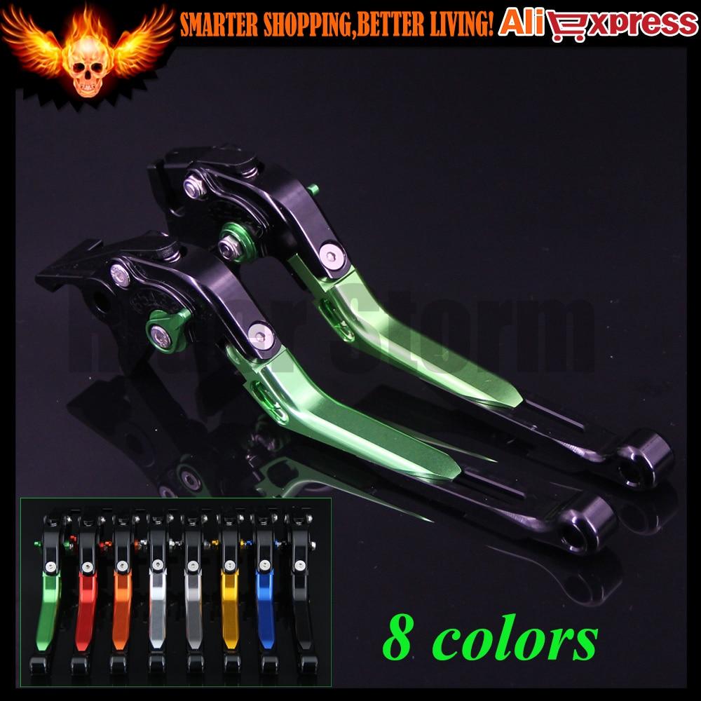 ФОТО Green+Black CNC Adjustable Folding Extendable Motorcycle Brake Clutch Levers For Kawasaki NINJA 250R 2008 2009 2010 2011 2012