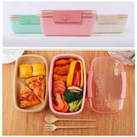 800ml Material saludable de la caja de almuerzo de doble capa de cajas de Bento de paja de trigo microondas vajilla de contenedor de almacenamiento de alimentos Almuerzo