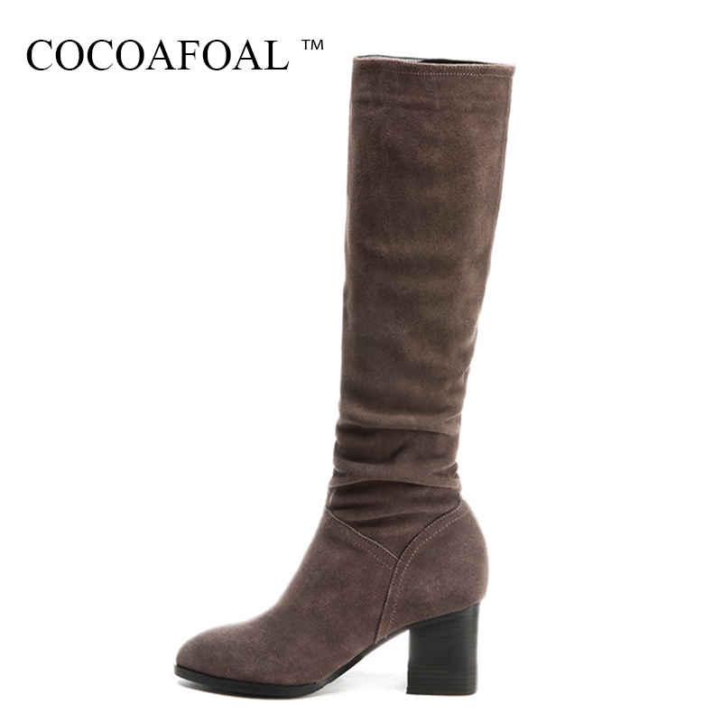 COCOAFOAL Genuine Leather Knee High Boots Fashion Black Women High Heeled Shoes Plus Size 33 43 Winter Chelsea Knee High Boots autumn and winter high heeled knee boots women fashion leather lace up high heels plus size knight boots size 35 43