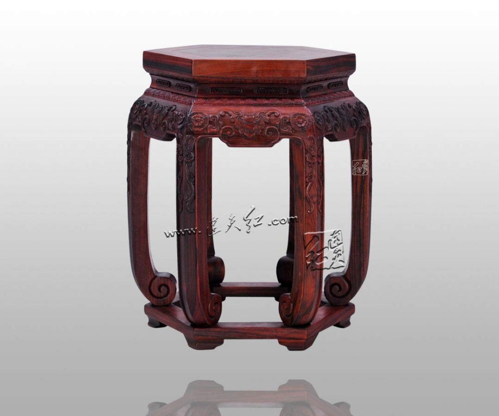 Antique Furniture Burma Rosewood Drum Legs Bench 6ft Wooden Room Shoe  Stools Chinese Rosewood Home Child