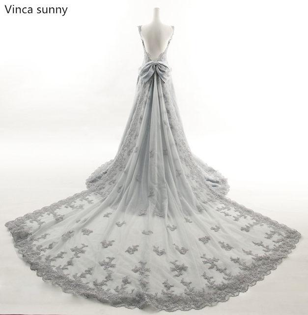 Online Shop Vinca sunny 2018 sexy silver grey wedding dresses ...