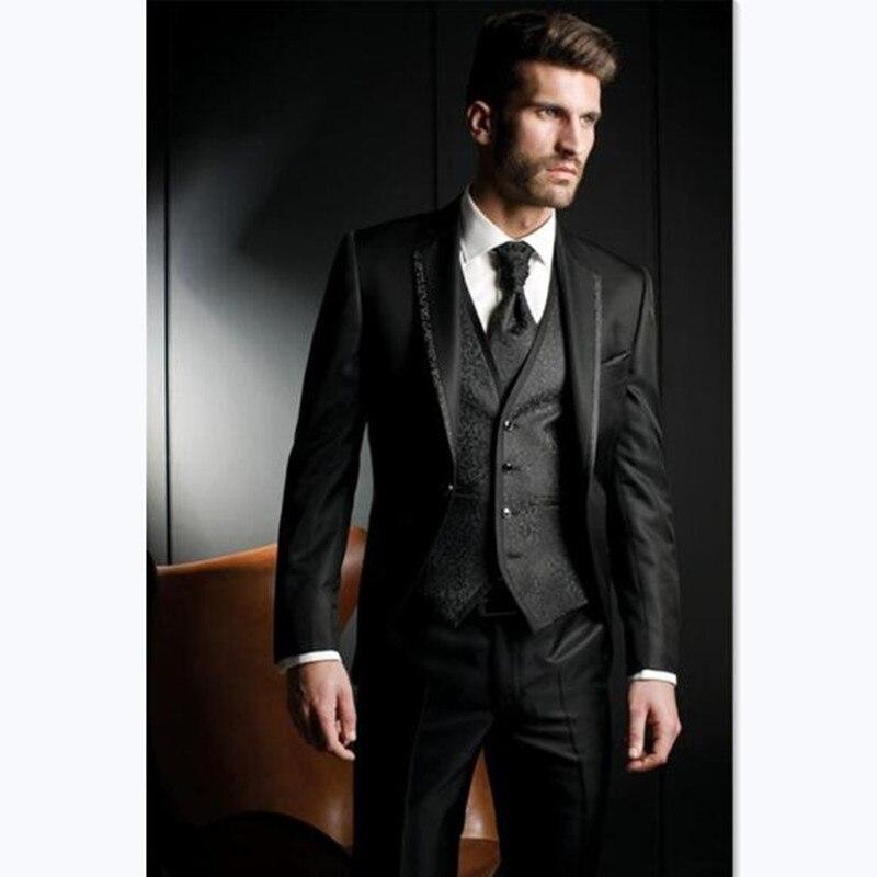 New Arrival Groom Tuxedo Shiny Black Groomsmen Notch Lapel Wedding/Dinner Suits Best Man Bridegroom (Jacket+Pants+Vest)