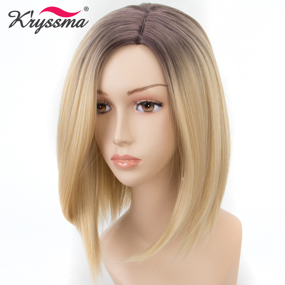 Short Blonde Bob Wig Ombre Wig with Brown Roots Straight Synthetic Hair Wigs for Women Left Part Glueless Heat Resistant Fiber Бюстгальтер