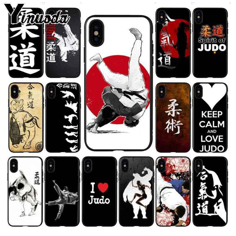 Yinuoda Japão aikido Judo Fitness TPU Macio Caso de Telefone de Silicone Preto para iphone X XS MAX 8 7 plus 5S SE XR 6 s Tampa Do caso