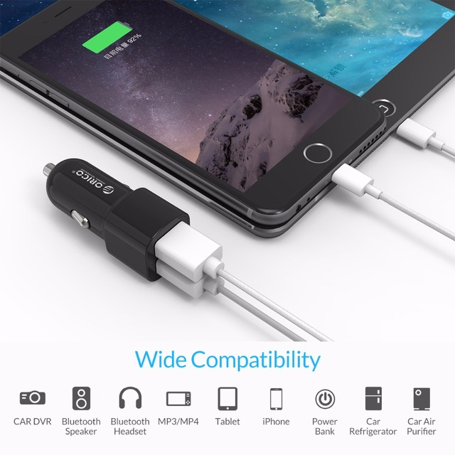 Dual Port USB Car Charger Adapter, 5V 2.4A 17W