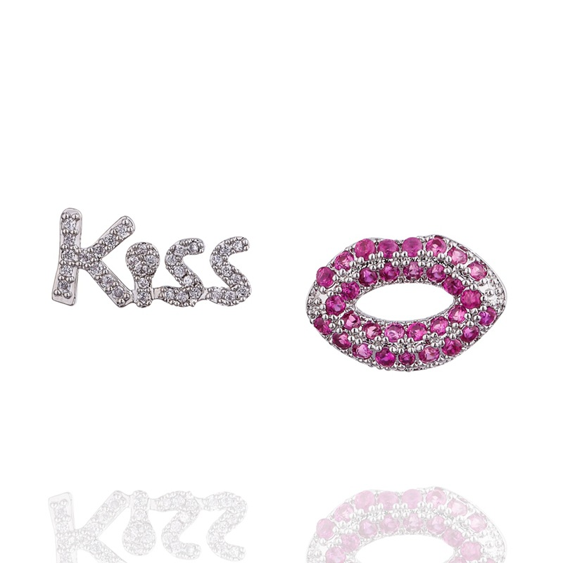 Stud-Earrings Crystal Romantic Purple Women Elegant Kiss Lips For Pink Mouth Charm Best-Party