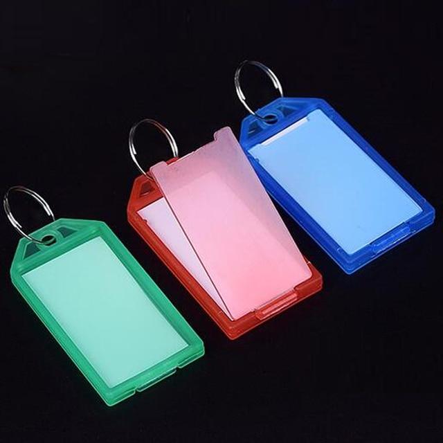 جديد 50 قطعة حلقة معدنية ملونة البلاستيك مفتاح Fobs الأمتعة بطاقة الهوية تسمية الاسم العلامة كيرينغ المفاتيح تصنيف سلسلة مفاتيح