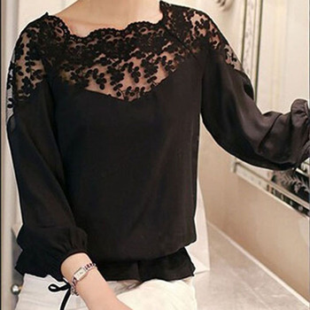 Lace Collar Chiffon Top 1
