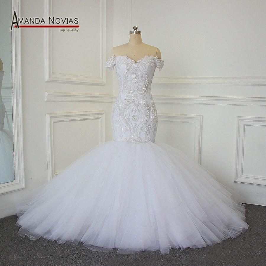 Luxury Full Beading Mermaid Wedding Dress 100 Real Photos Amanda Novias 2017