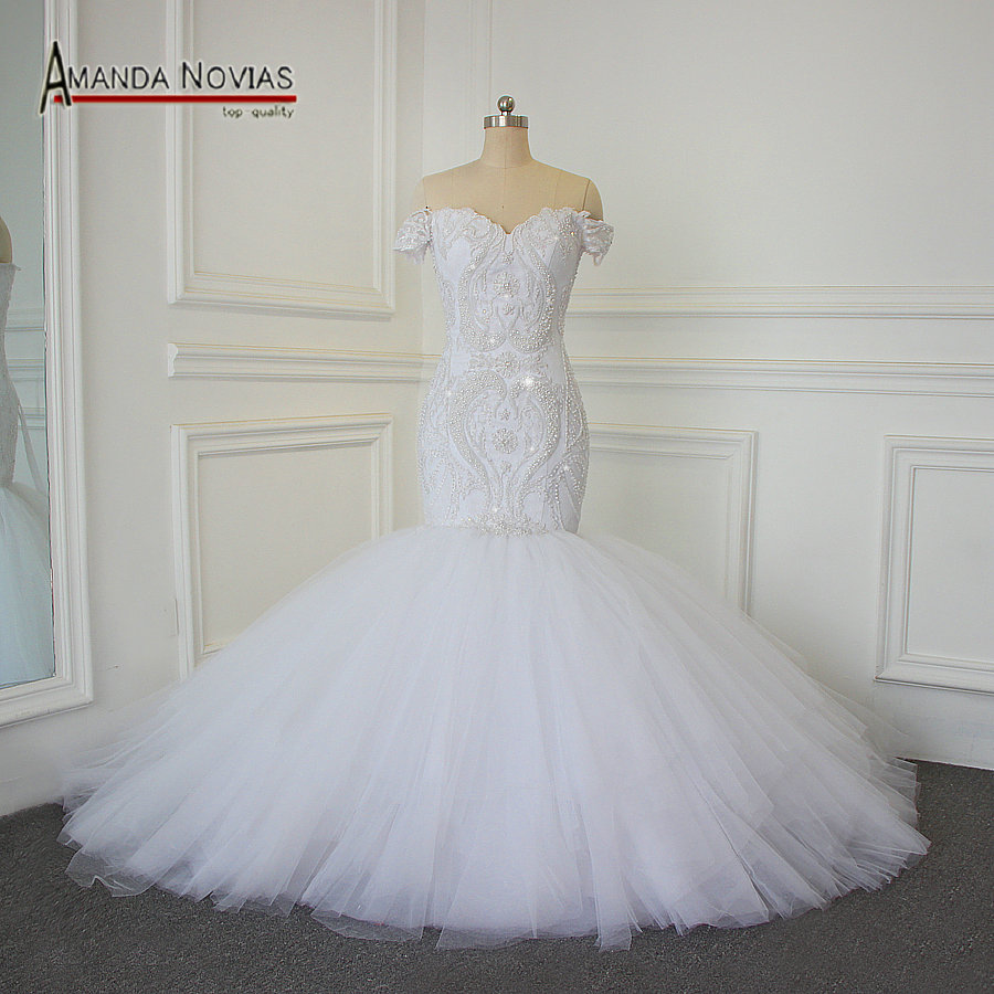 Aliexpresscom buy luxury full beading mermaid wedding for Wedding dress 100
