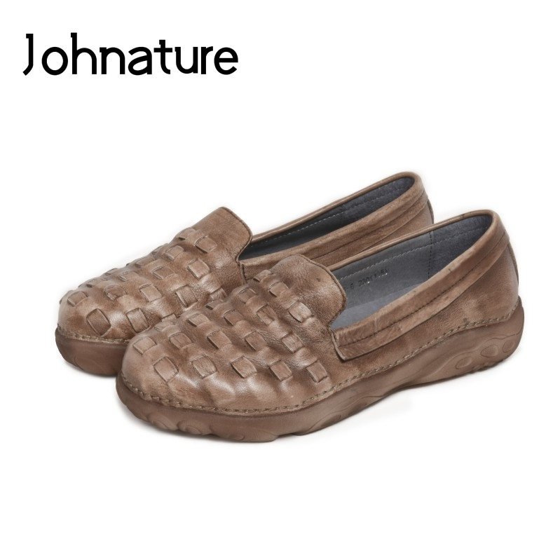 Johnature 2019 Spring/Summer Genuine Leather Loafers Retro Comfortable Casual Round Toe Shallow Slip-on Flats Women ShoesJohnature 2019 Spring/Summer Genuine Leather Loafers Retro Comfortable Casual Round Toe Shallow Slip-on Flats Women Shoes