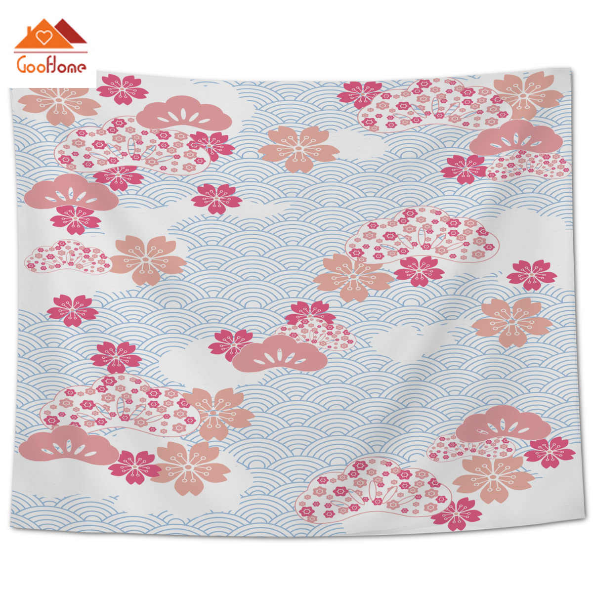 Goohome Japan Cherry Blossoms Wall Decor Wall Decor Bedspread Tapestry Coverlet Bedding Scarf Throw Sheet Hypoallergenic