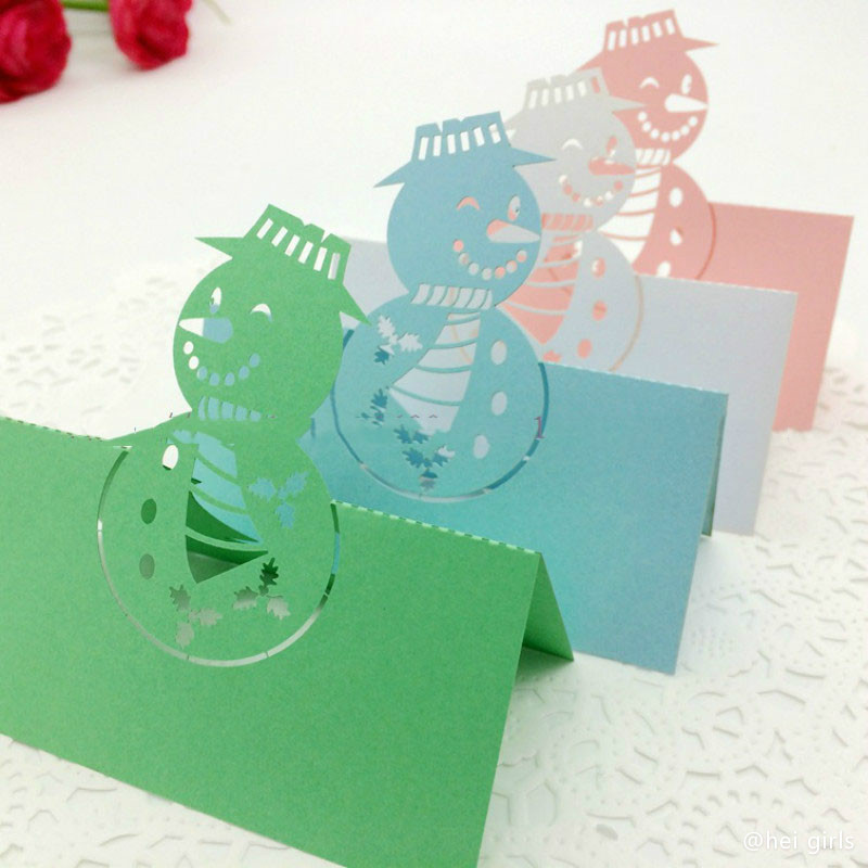 100pcs/lot Hollow Christmas Snowman Table Name Card Wedding Invitations For Business/Party/Birthday Decoration Supplies 5D