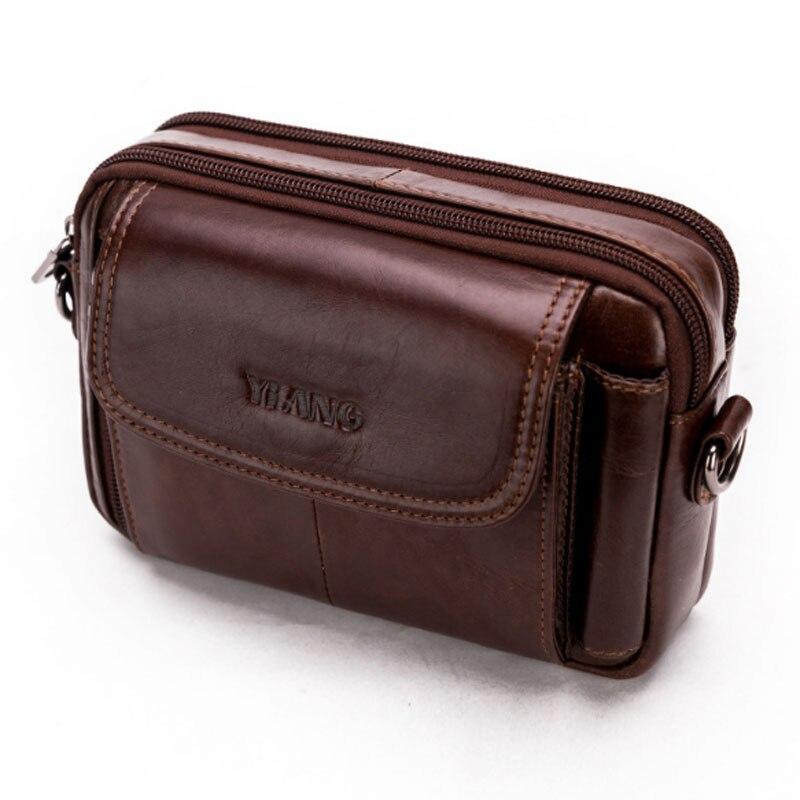 BEAU-Yiang Men Genuine Leather Crossbody Shoulder Bag Fashion Belt Waist Case Bag Wallet New