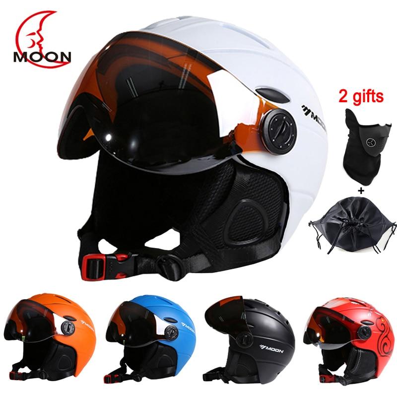 LUA CE Homem Dos Esportes Das Mulheres de Esqui de Esqui Capacete Integralmente-moldado Capacetes de Skate capacete do Snowboard do Esqui Com Óculos de Proteção Máscara de Neve