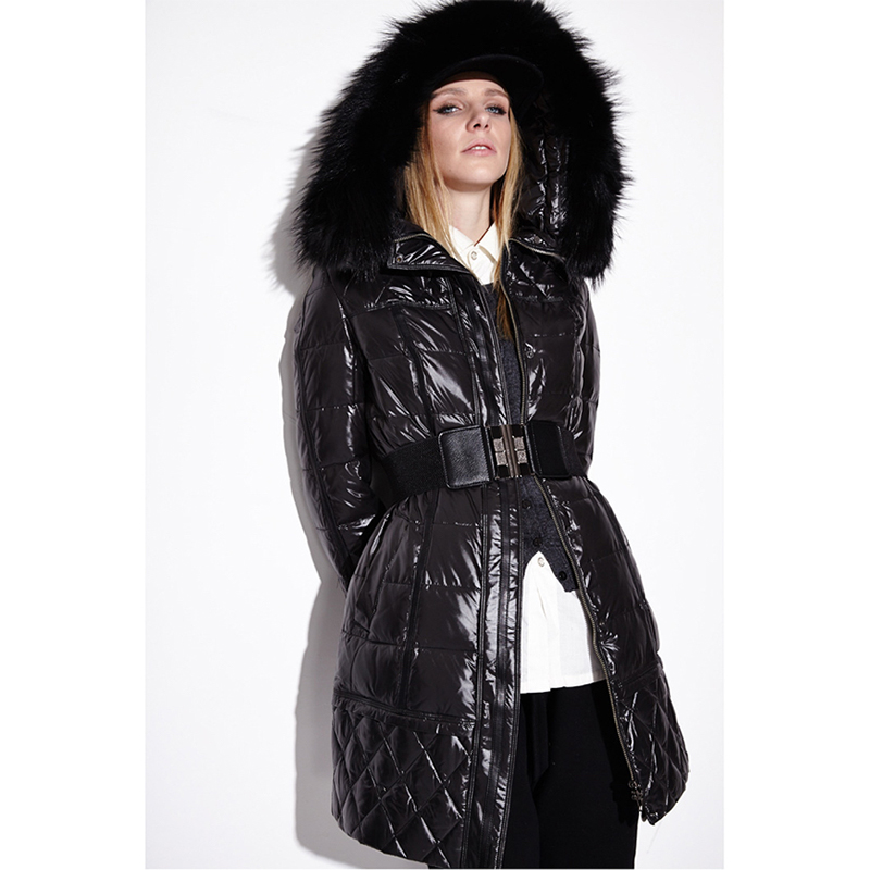 Winter fashion brand good quality big real fur hooded duck   down     coat   female glossy fabric long thicker warm   down   parkas wq714