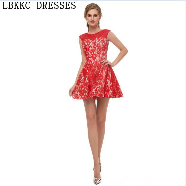 fe68fdbed Graduation Dresses Red Lace Homecoming Dresses A Line Sleeveless Mini Vestidos  Cortos De Fiesta Vestido Corto Elegant-in Homecoming Dresses from Weddings  ...