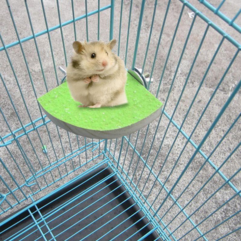 AHANDMAKER Soporte de Plataforma de Percha para Mascotas Madera 4 Uds 2 tama/ños de Percha de Madera para Animales Peque/ños Loro Jerbo Rata Rat/ón Chinchilla Jaula de H/ámster