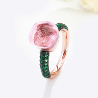 Fashion Jewelry Rose Gold With Black Plated Green Zircon Ring Gift 14 Colors