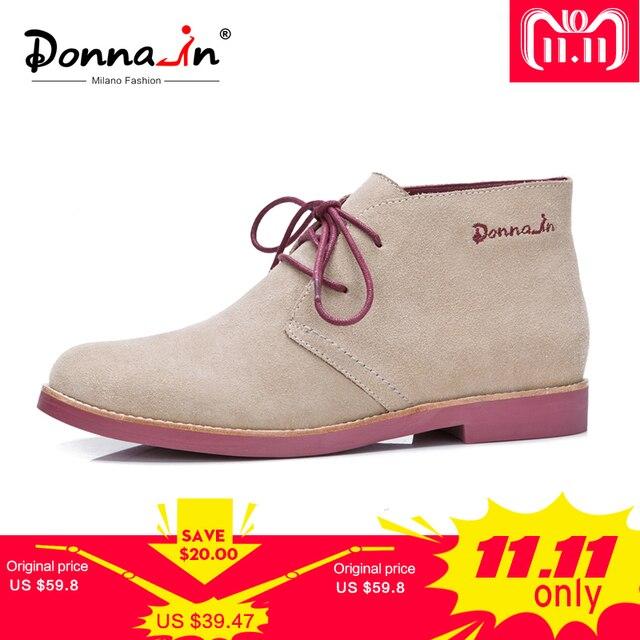 Donna-in/женские ботильоны из натуральной кожи, повседневная обувь, женские ботиночки 2018, на шнуровке, большие размеры, на плоской подошве, Брендовые женские Ботинки martin