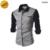 Moda 2016 Del Otoño Del Resorte Hombres Camisa de Vestir de Esmoquin Camisas Patchwork Empalme Casual Manga Larga Slim Fit para hombre M-XXL