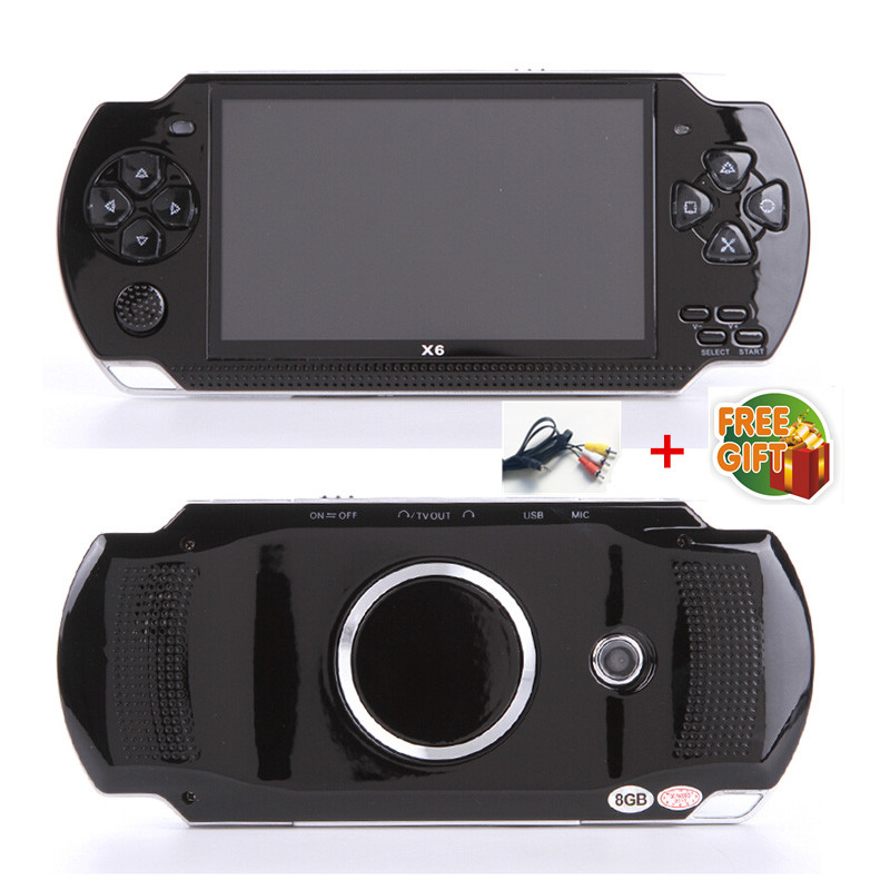 Free Shipping handheld Game Console 4.3 inch screen mp4 player MP5 game player real 8GB support for psp game,camera,video,e-book image