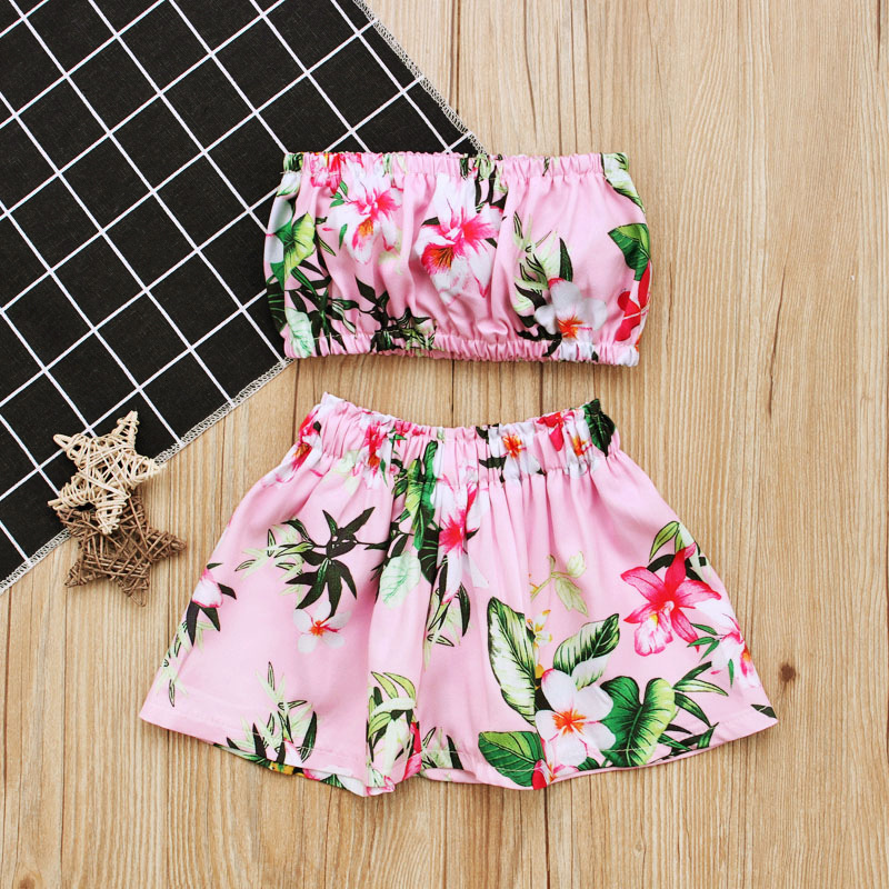 Hot Sale Cute Infant Outfits Pink Sleeveless Bra Top 2 pcs Casual Floral Baby Girls Clothes Set 0-18M