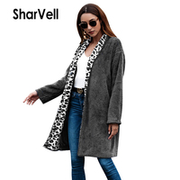 Sharvell Women Casual Solid There Color Faux Fur Jacket Wide waisted Open Stitch Long Length Leopard Print Teddy Fur Coat