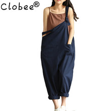 Ethnic Navy Blue Sexy Overalls Women Large Size Jumpsuit Clothes Rompers Summer Autumn 2018 Cotton Linen Wide Leg Pants Y126(China)
