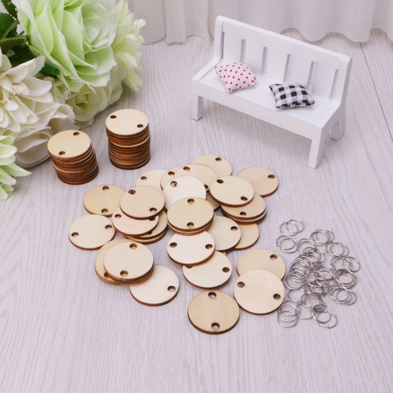 50Pcs Wooden Round Discs Slices Metal Ring For DIY