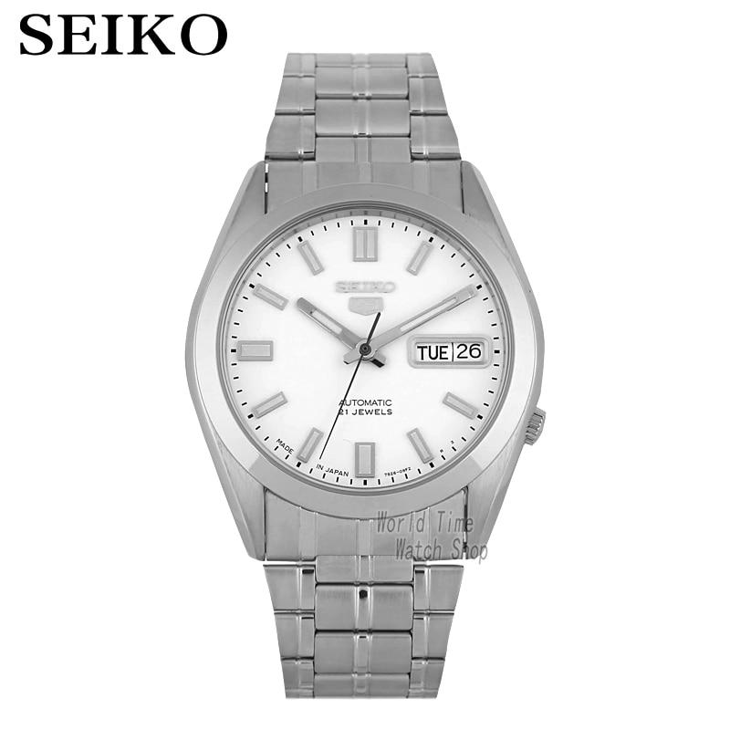 9d141b80502be Seiko 5 Snke85j1 Automático Mostrador Azul Dos Homens de Aço Inoxidável  Relógio Japão fez a linguagem Dupla calendário SNKE85J1 SNKE87J1 SNKE79J1