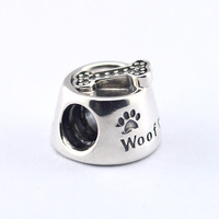 Woof Beads Fits European Charms Bracelet Animal Dog Bowl Beads Original 925 Sterling Silver Beads For Jewelry Making Jewelry